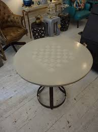 round concrete top chess board side table mecox gardens