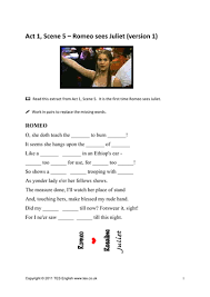 romeo and juliet worksheets for act 1 scene 5 by tesenglish