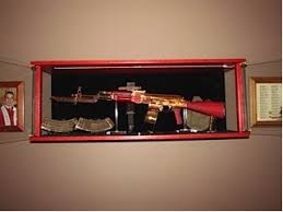 Wooden Wall Display Cabinets Wood Amish Custom Furniture And Gun Cabinets Ak 47 Wall Display