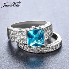 light blue rings images Junxin male female light blue ring 925 sterling silver wedding jpg