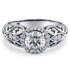 deco wedding rings sterling silver cubic zirconia cz halo milgrain deco