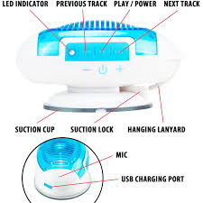 gogroove water resistant bluetooth bathroom shower speaker with