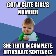 Meme Sentences - got a cute girl s number she texts in complete articulate