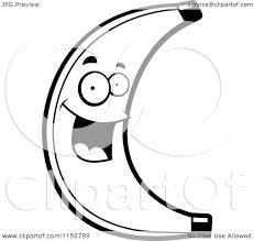 cartoon clipart of a black and white happy banana character