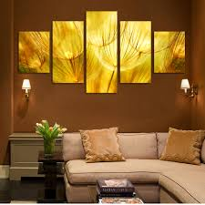 aliexpress com buy 5 panel wall art gold flower oil painting on