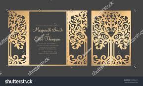 Tri Fold Wedding Invitations Template Tree Wedding Invitation Template Gate Fold Stock Vector 733206517