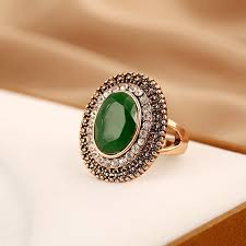 big stone rings images Retro style resin party rings for women oval vintage big stone jpg