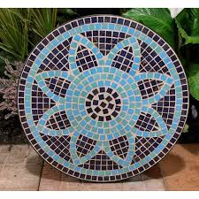 Tall Outdoor Patio Furniture Dining Room Charming Round Mosaic Bistro Table In Flower Motif