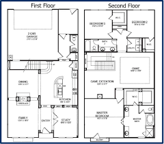 Garage House Floor Plans Winning 2 Story Floor Plans With Garage Of Home Ideas Kitchen