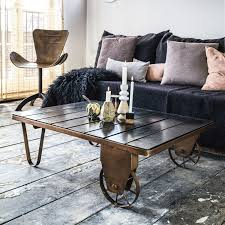 steunk house interior industrial cart coffee table in copper uniche industrial chic