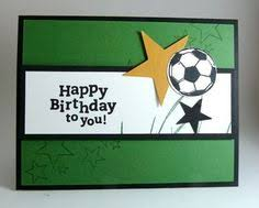 happy birthday handmade greeting card with white and black soccer