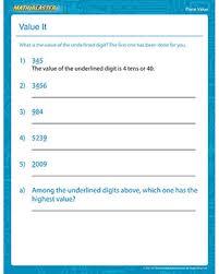 value it u2013 free 3rd grade place value worksheet for kids u2013 math