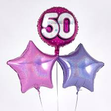 50th birthday balloon bouquets pink 50th birthday balloon bouquet inflated free delivery