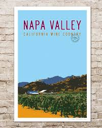 Napa Valley Home Decor Napa Valley Travel Poster Wine Country By Transitdesign On Etsy