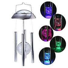 solar powered wind chime light amazon com image solar powered light color changing glass crackle
