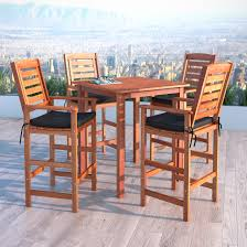 Patio Bar Height Table And Chairs by Corliving Miramar 5pc Cinnamon Brown Hardwood Outdoor Bar Height