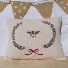 queen bee laurel wreath with bow pillow cover canvas cotton drop