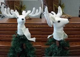 moose r us com white stag deer head antler christmas tree topper