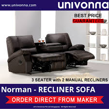 leather sofa free delivery univonna 3 seater with 2 manual recliners norman leather sofa
