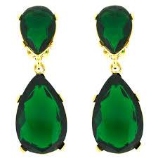 clip on earrings uk emerald and gold teardrop clip on earrings