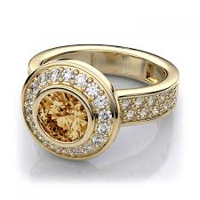 citrine engagement rings halo citrine and bezel set diamond ring in 18k yellow gold
