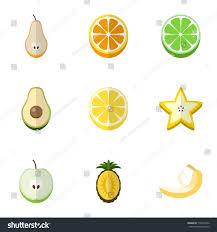 editable fruit set 9 editable fruits flat icons stock vector 710015542