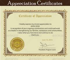 printable certificate of appreciation template props pinterest