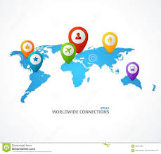 Vector World Map Vector World Map With Color Geo Location Pin Stock Vector Image