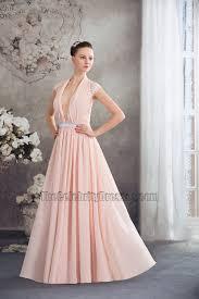 deep v neck full length chiffon evening dress prom gown