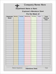 Weekly Attendance Sheet Template Efficient Sle Of Weekly Attendance Sheet Template In Excel For