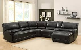 Sectional Reclining Sofas Leather Homelegance Cale Sectional Sofa Set Black Bonded Leather Match