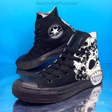converse all star skull trainers black white sz 5 mens womens