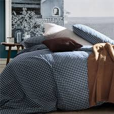 home textile 100 high quality cotton knitting gingham sea blue bedding sets queen size king size duvet cover bedding sheet pillowcas full duvet cover sets