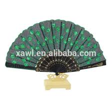 hand fans for sale popular sale green sequins plastic folding hand fans silk cloth for