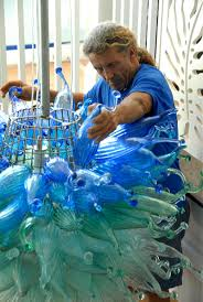Blue Bottle Chandelier by Rick Strini U2013 Art That Illuminates Maui Made