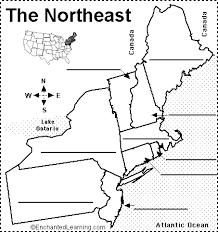 northeastern cus map label northeastern us states printout enchantedlearning com