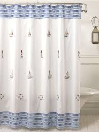 Nautical Bathroom Curtains Annapolis Embroidered Nautical Fabric Shower Curtain Curtain