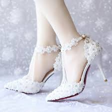 wedding shoes 2017 2017 high quality white lace pearls women wedding shoes with
