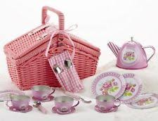 Picnic Basket Set For 4 Delton Childs Tin Tea Set For 4 In Wicker Picnic Basket Rose Ebay