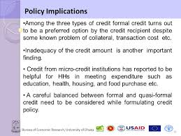 Formal Credit Policy Bureau Of Economic Research Of Dhaka The Of