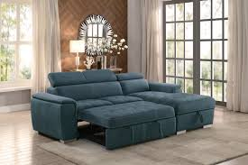 Pull Out Bed Sofa Ferriday Modern Style Blue Polyester Fabric Sectional Pull Out Bed