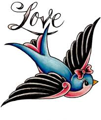old color cartoon swallow bird heart tattoo designs photo