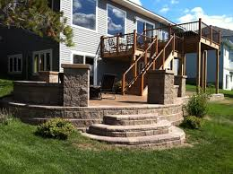 Building A Raised Patio With Retaining Wall by Retaining Wall Step System Off Of Raised Stamped Concrete Patio