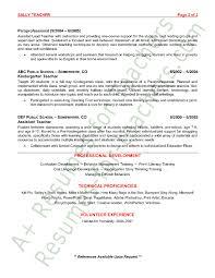 Paraprofessional Resume Sample Preschool Teacher Resume Template Teacher Resume Sample Page 2