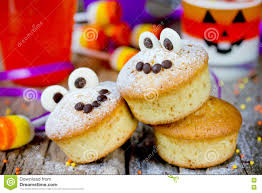 halloween funny monster muffins with chocolate eyes for treat ki
