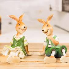 2pcs lot resin rabbit figurines statues small ornaments creative