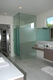 simple shower room stall design with green glass wall divider