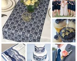 Navy Blue Lace Table Runner Royal Blue Lace Wedding Table Runner