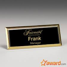 gold name tag metal name badge with gold frame 3 x 1 inch