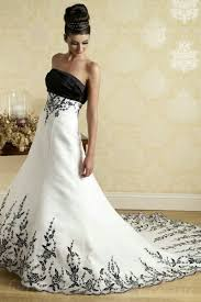 black and white wedding dresses buy cheap black and white a line handmade embroidery strapless